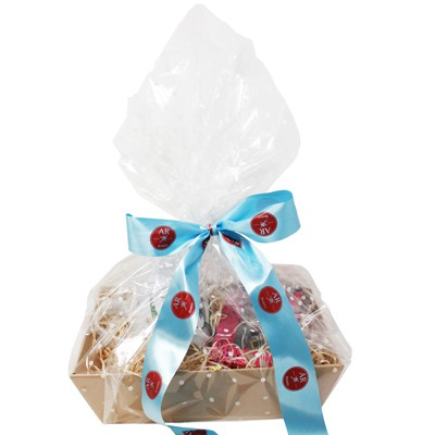 Hamper With Clear Wrapping & Ribbon
