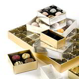 CHOCOLATE BOXES 78mm x 41mm 2 CHOC GOLD BOX / GOLD TRAY
