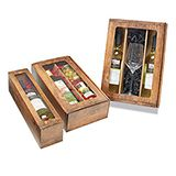 WOOD EFFECT 1 WINE BOTTLE BOXES CLEAR FRONT 385x92x95mm PACK 5