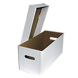 CARDBOARD RECORD STORAGE BOX 7in VINYL WHITE - 480Lx199Wx200H S/W