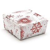 FESTIVE SNOWFLAKE (RED) BALLOTIN BOXES - 1 CHOC - FLAT PACKED - 37x33x31mm - PACK 25