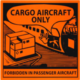 HAZARD LABELS DANGER FORBIDDEN IN PASSENGER AIRCRAFT