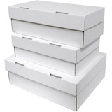 WHITE CARDBOARD SHOE STYLE BOX 292Lx203Wx102H Pack 25