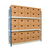 ARCHIVE STORAGE SHELVING - SINGLE 1830x1525x457MM + 24 ARCHIVE BOXES C/W LID