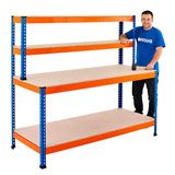 BENCH WORKSTATION WITH 2 TOP SHELVES 1677H x 1220W x 760Dmm 400KG UDL BLUE & ORANGE