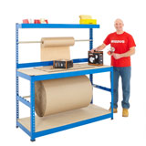PACKING STATION WITH 2 REEL BARS 1677H x 1830W x 760Dmm 400KG UDL BLUE