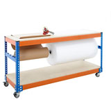 MOBILE PACKING BENCH WITH REEL BAR 920H x 915W x 610Dmm 300KG UDL BLUE AND ORANGE