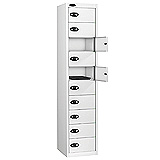 10 DOOR LOCKERS 1780x380x460mm BLUE DOOR WHTE BODY NEST OF 1