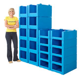 CORREX STACKING EURO PICK BIN 200H x 400W x 600Dmm BLUE - PACK 10
