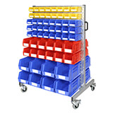 DOUBLE SIDED SMALL PARTS TROLLEY KIT 1400x930mm - 144 BINS