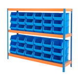 INDUSTRIAL SHELVING BIN KIT 1500H x 1800W x 450Dmm 3 LEVELS WITH 36 BINS 175H x 270W x 420Dmm BLUE
