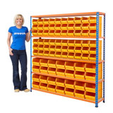 BIN KIT 1600H x 1220W x 305Dmm WITH 48 BLUE BINS 140kg UDL BLUE AND ORANGE