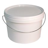 PLASTIC BUCKETS WITH LIDS WHITE 0.6L
