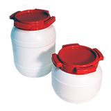 WIDE NECK PLASTIC KEGS WHITE WITH RED LID 3.6L