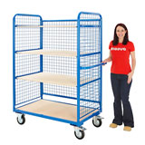 MESH SIDED SHELF TROLLEY STANDARD CASTORS 1780H x 1320W x 700Dmm 500KG SWL BLUE