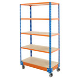 SHELF TROLLEY 1720H x 915W x 455Dmm 5 LEVELS BLUE AND ORANGE 300KG