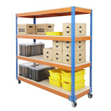 MOBILE SHELF TROLLEY 1800H x1220Wx455Dmm 4 LEVELS 300KG SWL BLUE AND ORANGE