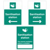 SANITISATION STATION SIGN RIGHT, PLASTIC - 300 x 400mm - PACK 5