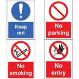PROHIBITION SIGN, KEEP OUT !, PLASTIC - 210 x 297mm - PACK 5