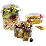 FOOD DISPLAY AND STORAGE CONTAINERS - 4oz ROUND WITH LIDS 71 x 40mm