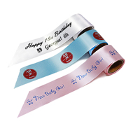 CUSTOM PRINTED RIBBON - 38mm x 10m - LIGHT BLUE / SILVER INK