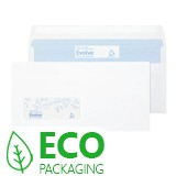 WHITE RECYCLED SELF-SEAL ENV. DL PLAIN 110x220mm 90-100gsm