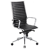HIGH BACK LEATHER OFFICE CHAIR - BLACK  (KNEE TILT MECHANISM) - FLAT PACKED