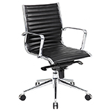 MEDIUM BACK LEATHER OFFICE CHAIR - BLACK (KNEE TILT MECHANISM) - FLAT PACKED