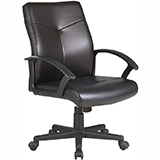 MEDIUM BACK LEATHER OFFICE CHAIR - BLACK - FLAT PACKED