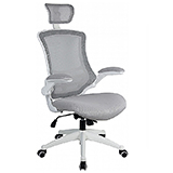 TILT ADJUSTABLE MESH CHAIR - WHITE FRAME AND CASTORS - BLACK - FLAT PACKED
