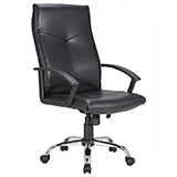 LEATHER MANAGER CHAIR - BLACK - FLAT PACKED